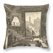 Ancient School Built According To The Egyptian And Greek Manners Throw Pillow