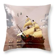 Ancient Ships Throw Pillow