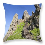 Ancient Steps Leading To Celtic Monastery, Skellig Michael, County Kerry, Ireland Throw Pillow