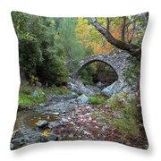 Ancient Stone Bridge Of Elia, Cyprus Throw Pillow