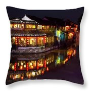 Ancient Style Restaurant On Water By Stone Bridge Throw Pillow