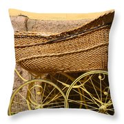 Ancient Swedish Baby Carriage Throw Pillow