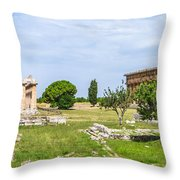 Ancient Temple At Famous Paestum Archaeological, Italy Throw Pillow