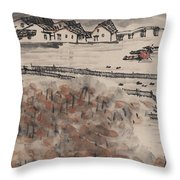 Ancient Town River Paintingancient Town River Painting Throw Pillow
