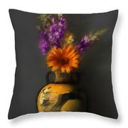 Ancient Vase And Flowers Throw Pillow