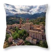 Ancient Village Of Sarnano Italy, Marche, Macerata - Aerial View Throw Pillow