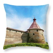 Ancient Wall And Tower Of The Fortress Oreshek Throw Pillow