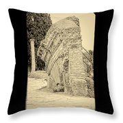 Ancient Wall Of Ostia Antica Throw Pillow