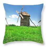 Ancient Windmills In Field Throw Pillow