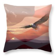 And The Eagle Flies Throw Pillow by Paul Sachtleben