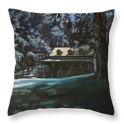 And The Lights Glowing Softly At Night Guide Us Home Throw Pillow