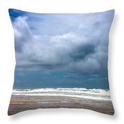 And The Sea Foam Rolls In Throw Pillow