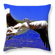 And The Seagull Follows Pelican Throw Pillow