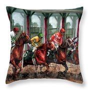 And They're Off Throw Pillow by Thomas Allen Pauly