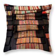 Andean Textile Market Throw Pillow