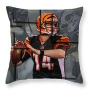 Andy Dalton Cincinnati Bengals Blocks Throw Pillow