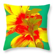 Andy Warhol Inspired Yellow Flower Throw Pillow
