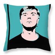 Andy Warhol Self Portrait 1964 On Cyan - High Quality Throw Pillow