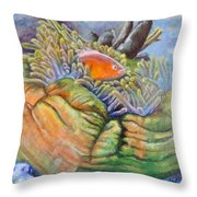 Anemone Coral And Fish Throw Pillow