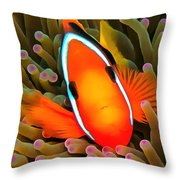 Anemone Fish Throw Pillow