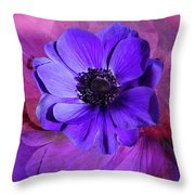 Anemone In Purple Throw Pillow