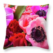 Anemones And Roses Throw Pillow