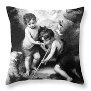 Angel - Angels With White Lamb Throw Pillow