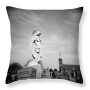 Angel And Church In Calvary Cemetery New York City Throw Pillow