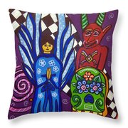 Angel And Devil-day Of The Dead Throw Pillow