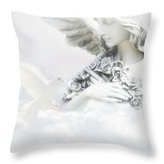 Angel And Dove Throw Pillow