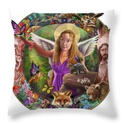 Angel And Fox Throw Pillow