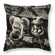 Angel And Frog Throw Pillow