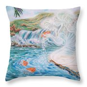 Angel And The Fishes  Flying-lamb-productions  Throw Pillow