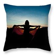 Angel At Sunset Throw Pillow