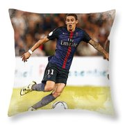 Angel Di Maria Controls The Ball Throw Pillow