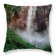 Angel Falls Canaima National Park Venezuela Throw Pillow by Dave Welling