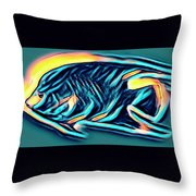 Angel Fish In Turquoise Tones Throw Pillow