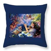 Angel Flute Throw Pillow