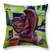 Angel Guarding Grave Hvalsneskirkja Graveyard Iceland Throw Pillow