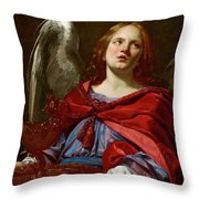 Angel Holding The Vessel And Towel For Washing The Hands Of Pontius Pilate Throw Pillow