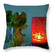 Angel In Candle Light Throw Pillow