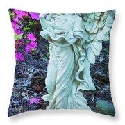 Angel In The Garden Throw Pillow