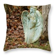 Angel In The Woods Throw Pillow by Danielle Allard