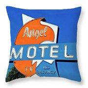 Angel Motel Throw Pillow
