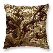 Angel Oak In Sepia Throw Pillow