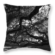 Angel Oak Limbs Bw Throw Pillow