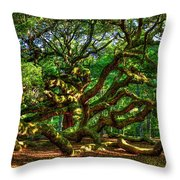 Angel Oak Morning Shadows Charleston South Carolina Throw Pillow