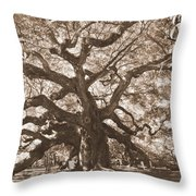 Angel Oak Sepia Throw Pillow