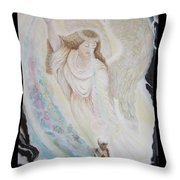 Flying Lamb Productions.   Angel Of Mercy -2 Throw Pillow