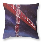 Angel Of The North Christmas Throw Pillow